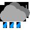 Tutto il giorno Poco nuvoloso con piogge moderate