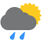 Durante la prima parte della giornata Nubi sparse tendente nella seconda parte della giornata Poco nuvoloso con qualche pioggia